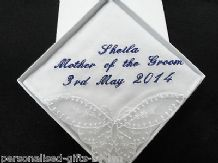Ladies Personalised Handkerchief , Hankie  Wedding/Bday